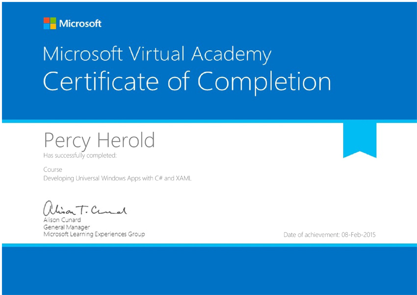 Percy Herold Certificate of Completion (Developing Universal Windows